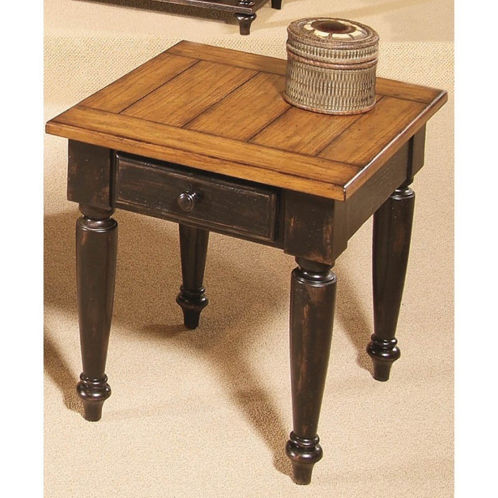 Progressive Furniture 44542-04 Country Vista End Table, Antique Black and Oak 0
