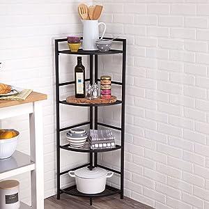 Flipshelf-Folding Metal Shelf-Small Space Solution-No Assembly-Home,Kitchen,Bathroom and Office Shelving-Corner Shelf, Black (Color: Black)