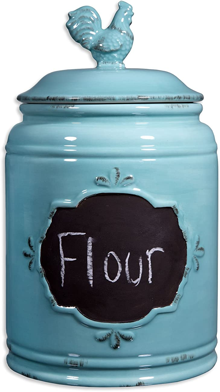 Set of 3 Durable Blue Chalkboard Rooster Canister Set with Tight Lids for Kitchen or Bathroom, Food Storage Containers, Ceramic,Aqua, 2