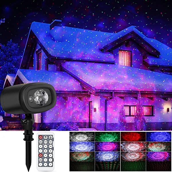 Christmas Laser Lights Ocean Wave Projector 2-in-1 Moving Strobe Water Ripples Laser Projector Lamp Waterproof Landscape Lamp 9 Dynamic Mode with Remote for Halloween Xmas Party Outdoor Indoor Decor (Color: Laser Ocean Wave)