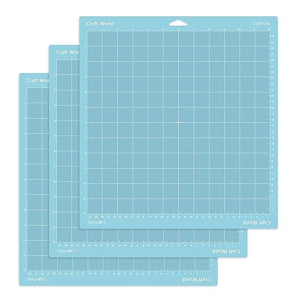 Craft World Lightgrip Cutting Mat for Cricut Maker/Explore Air 2/Air/One(12x12 Inch, 3 Pieces), Reuseable Cutting Mats for Crafts (Color: Blue for Cricut, Tamaño: Lightgrip 12x12 3 Pack)
