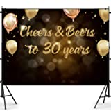 Joymee 30th Birthday Backdrop Cheers and Beers to 30 Years Photography Background for Men Women 30th Birthday Wedding Anniversary Party Supplies Black Gold Glitter Sparkling Decorations 7 * 5ft (Color: 30th Birthday Backdrop, Tamaño:  Large )