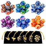 CiaraQ DND Dice Set, Polyhedral Dice Set, Dungeons and Dragons Dice Set for D&D Dice Games RPG MTG Table Games with Drawstring Pouch. Double-Color Dice , 6 x 7 Sets(42 Pieces)