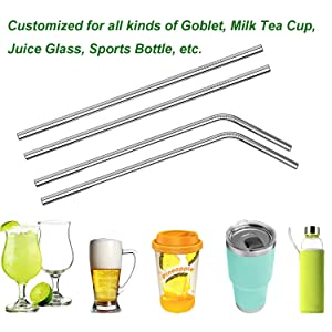 VEHHE Stainless Steel Straws Drinking Straws Metal Straws Reusable FDA BPA - 10.5 Ultra Long 4  1 - W/Cleaning Brush for 20/30 Oz for Yeti RTIC SIC