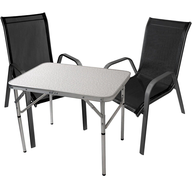 3tlg. Balkonmöbel Gartengarnitur Gartenmöbel Sitzgarnitur Sitzgruppe Campingtisch Klapptisch 75x55cm + stapelbare Gartenstühle Stapelstühle Stahl pulverbeschichtet mit Textilenbespannung günstig online kaufen
