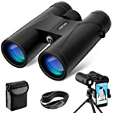 12x42 Binoculars for Adults, VEMTONA Professional Binoculars Compact for Bird Watching/Outdoor/Travel/Concert, Waterproof Telescope HD BAK4 Prism FMC Lens with Tripod/Neck Strap/Carrying Bag (Color: Black, Tamaño: 12x42)