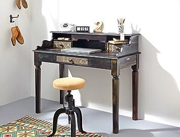 Sekretär Punjab 115x97x57 cm Akazie Metall Schreibtisch Tisch Used Look Vintage