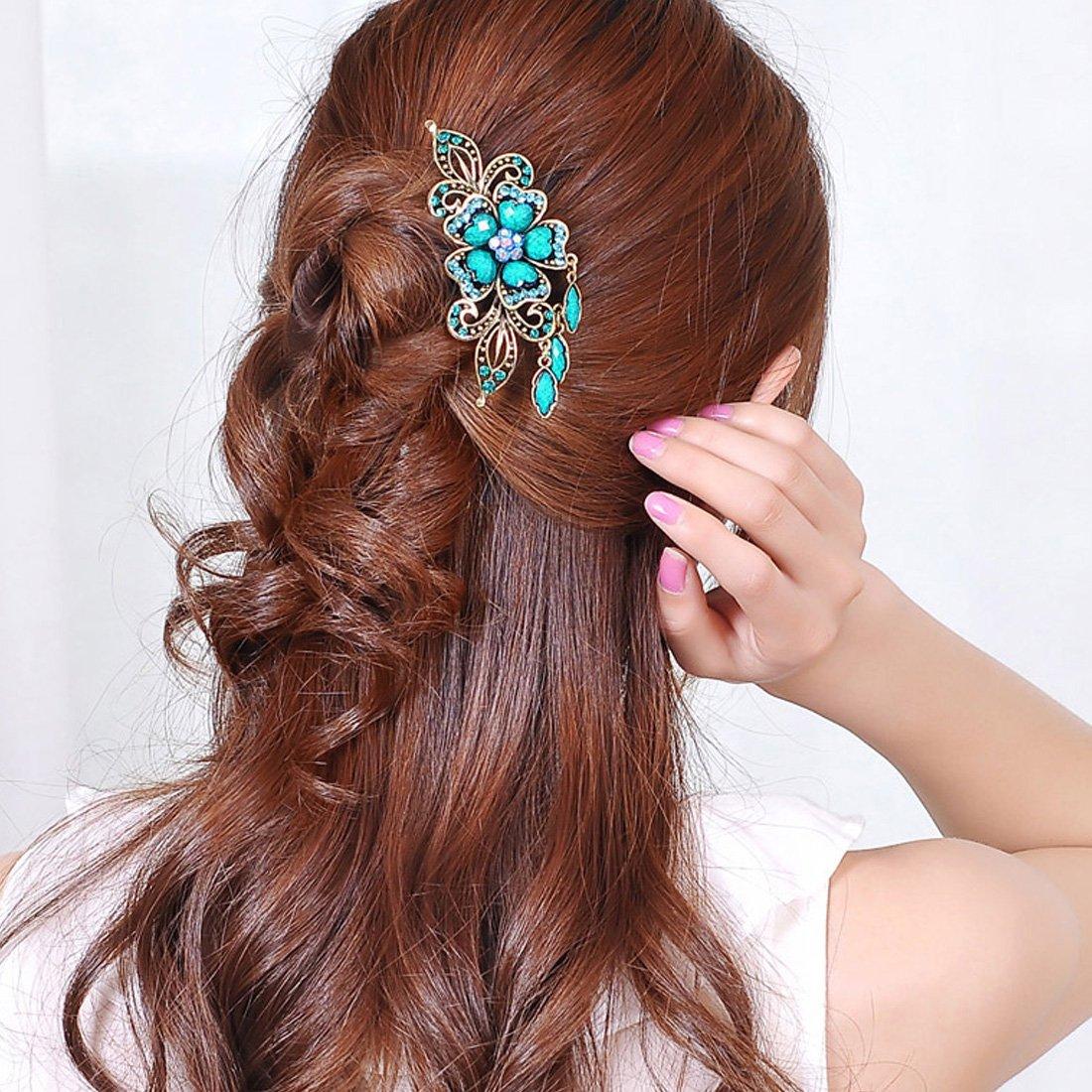 Voberry® Retro Vintage Fashion Antique Bronze Women's Colorfull Rhinestone Elegant Peacock Tuck Comb Hair Clip-colorful with Accessory1 Pcs Random Color 2