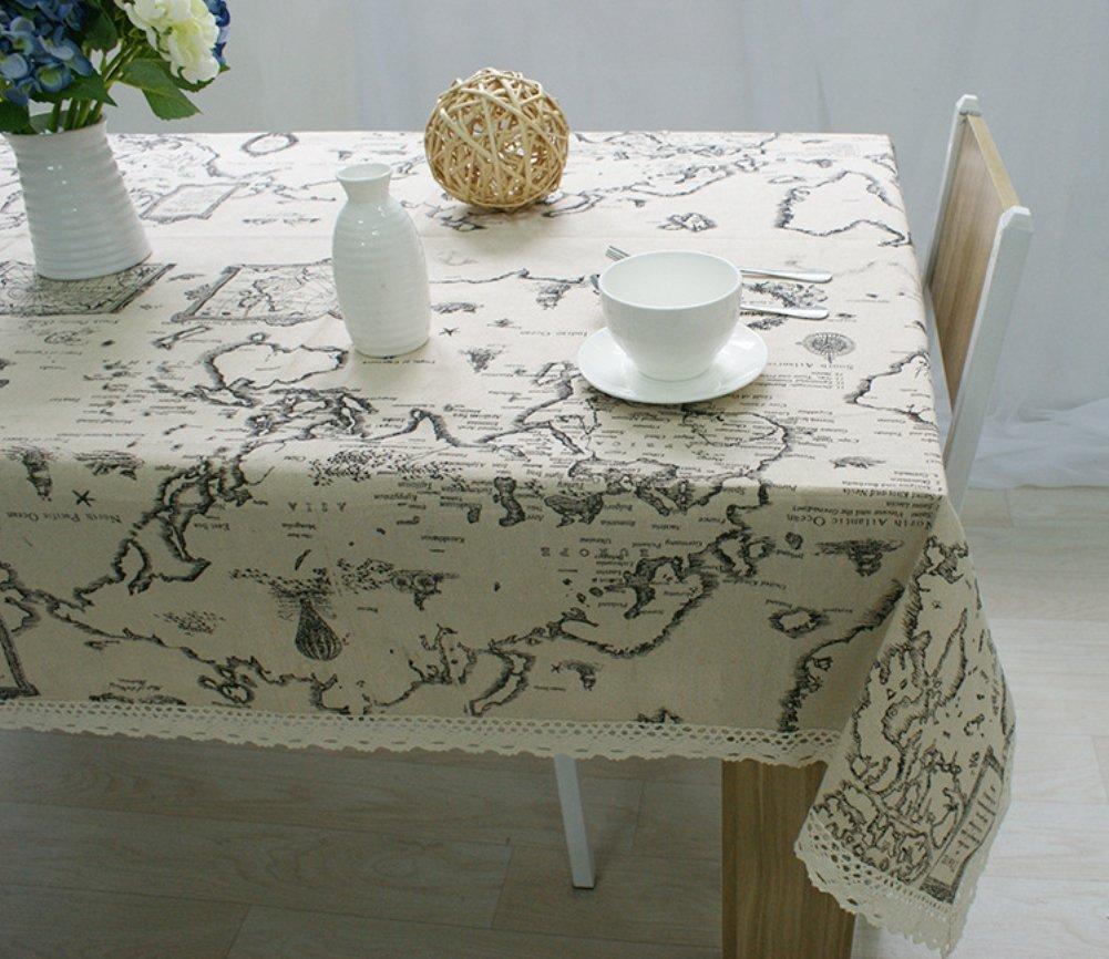 Kingmerlina Cotton Linen Rectangle Map Print Vintage Tablecloth Multi Size 0