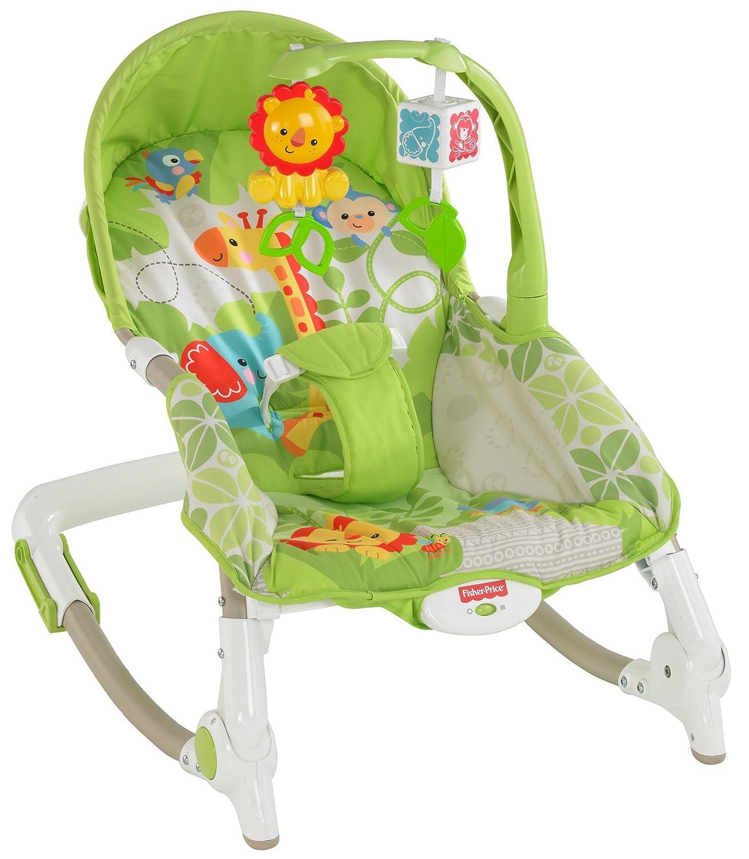 Fisher-Price Newborn-to-Toddler Portable Rocker, Green Safari