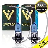 Voltage Automotive H3 Headlight Bulb Polarize Super White Bright Replacement (Pair) - Professional Upgrade Headlight Bulb