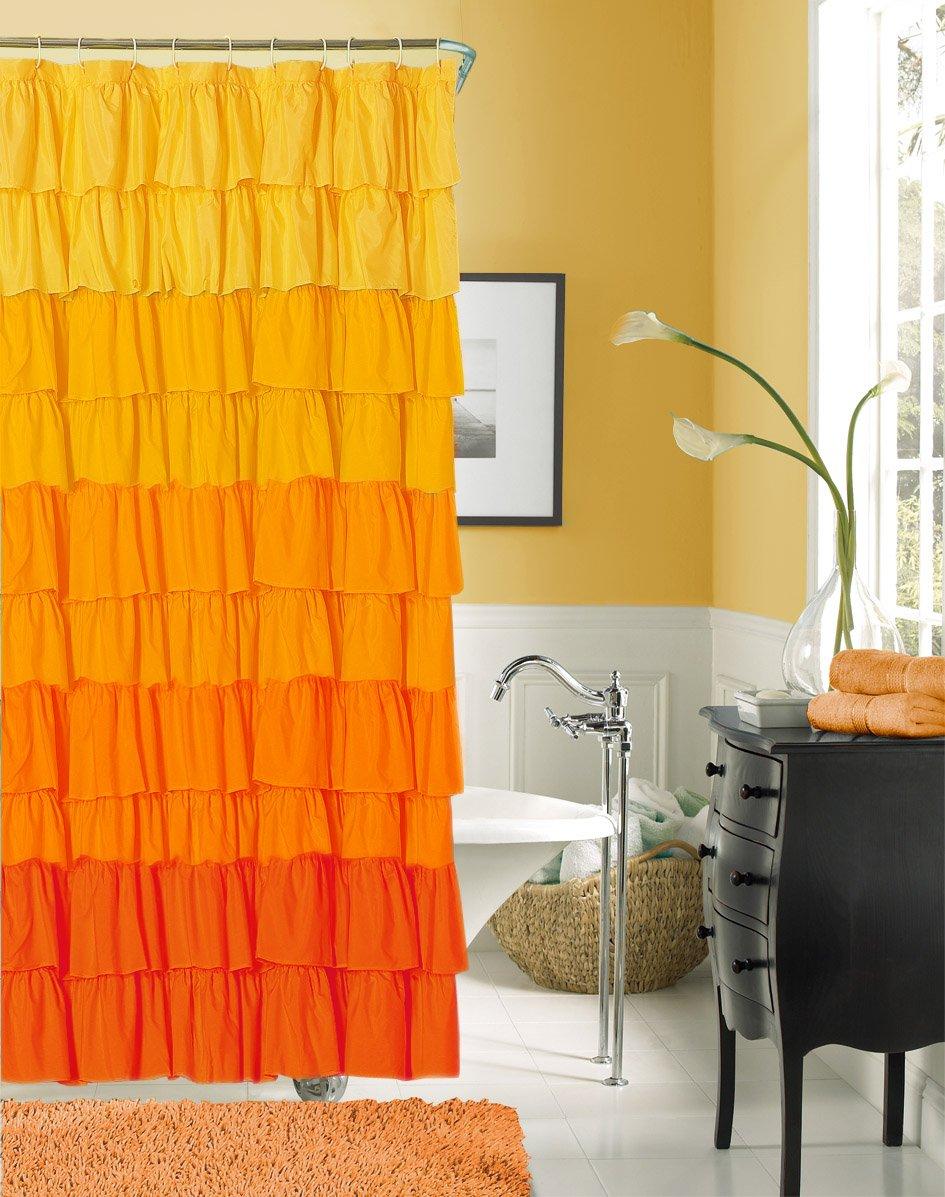Bright shower curtain - Dainty Home Flamenco Ruffled Shower Curtain 72 By 72 Inch