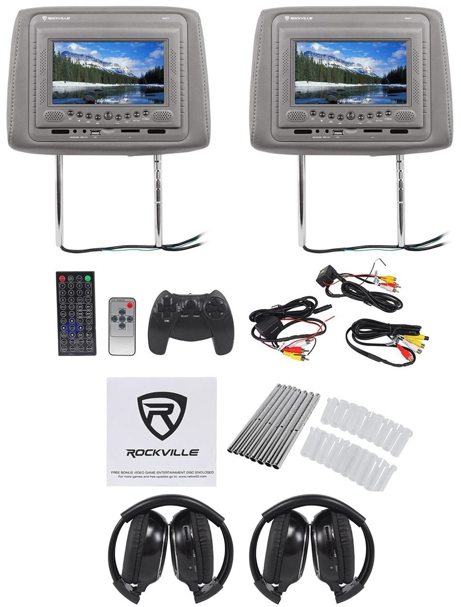 Rockville RDP71-GR 7 Grey Car DVD/USB/SD Car Headrest Monitors with IR Transmitter, Internal Speakers, Sony Laser Lens + Video Games + (2) Rockville RFH3 Dual Channel Wireless Ir Headphones beige dual dvd usb sd car headrest monitors lcd display digital screen dvd player headrest 2video game control 2ir headphones