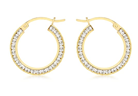 Carissima Gold 9 ct Yellow Gold 21 mm Cubic Zirconia Creole Earrings