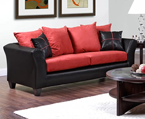 Chelsea Home Furniture Cynthia Sofa, Denver Black/Victory Cardinal