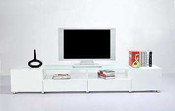 Mobile porta tv nero design moderno laccato BIANCO salotto soggiorno 240x46x40