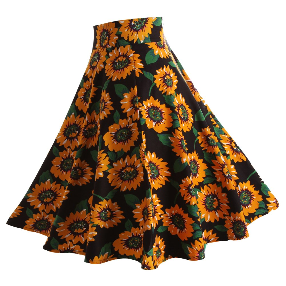 Fancyqube(TM) Women Pleated Vintage Skirts Floral Print Midi Skirt 2