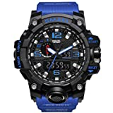 KXAITO Men's Watches Sports Outdoor Waterproof Military Watch Date Multi Function Tactics LED Alarm Stopwatch (Band_Blue) (Color: 01_blue_band, Tamaño: large)