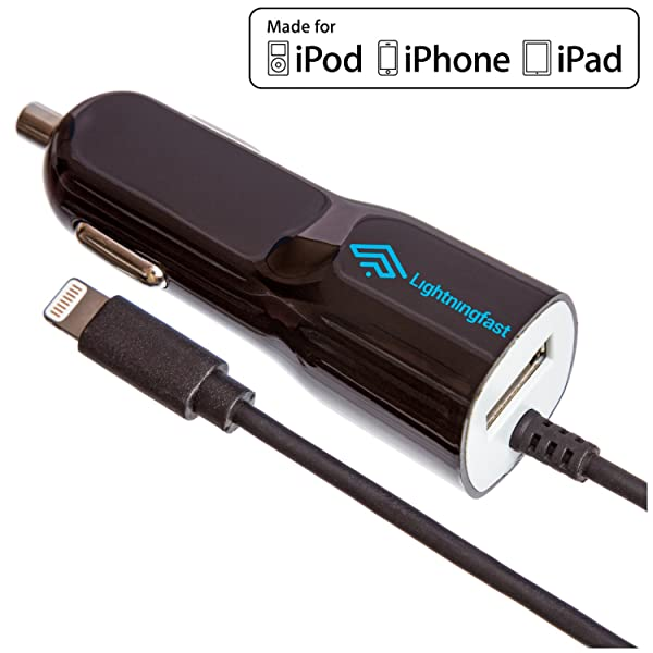 newest ea696 f4336 Apple Certified Lightning Car Charger - 2.1 Amp for iPhone X 8 Plus ...