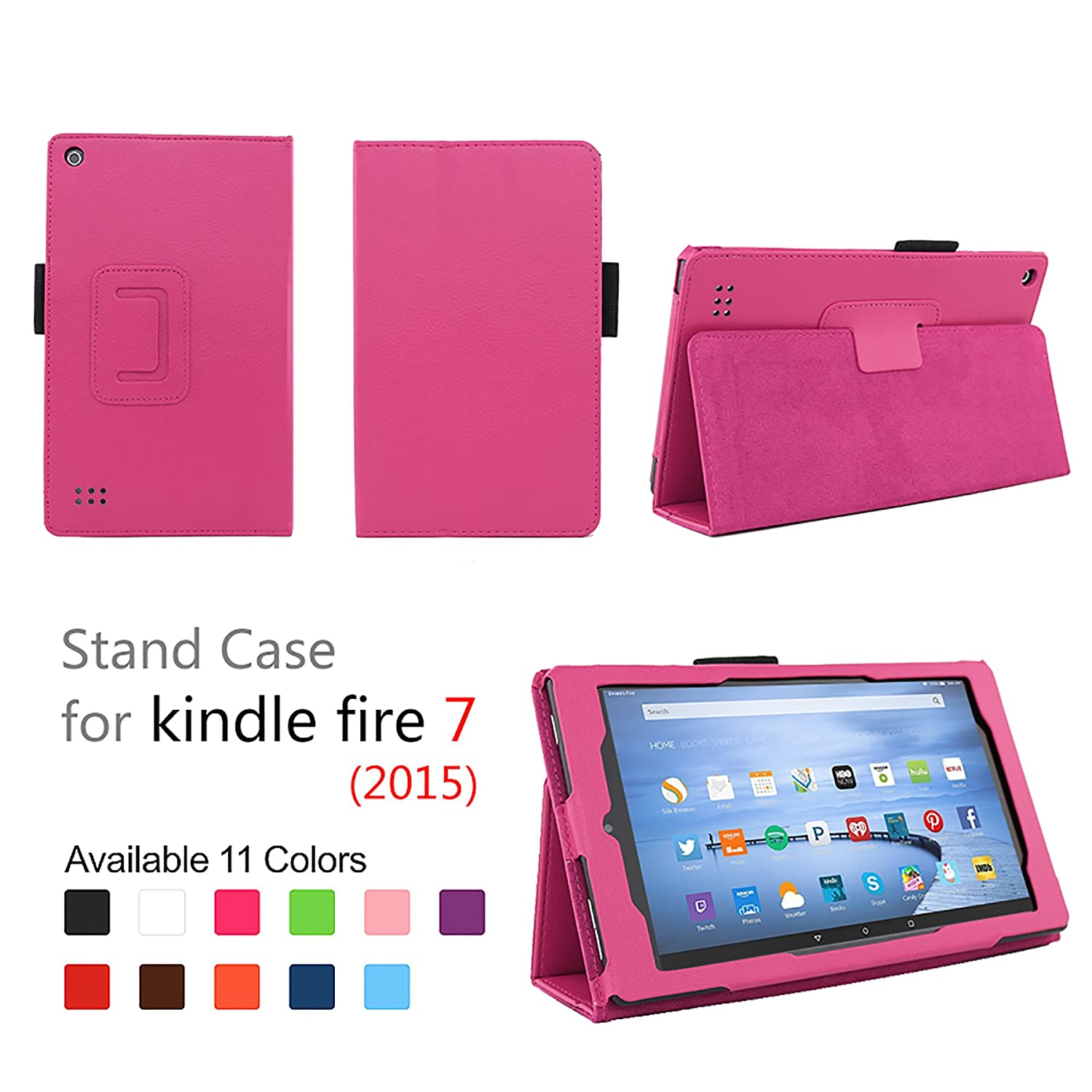 "Case for Fire 7 - Elsse Premium Folio Case with Stand for the NEW Fire, 7"" Display (Sept, 2015 Release) - Hot Pink"