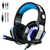 Gaming Headset for PS4 Xbox One, Beexcellent Stereo Over Ear Gaming Headphones Noise Cancelling Wired PC Headset with Mic/Bass Surround/Volume Control/LED Light for Playstation 4/Laptop/Mac/Computer (Color: Black-Blue)