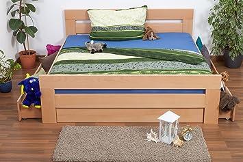 "Doppelbett / Funktionsbett ""Easy Sleep"" K6 inkl. 4 Schubladen und 2 Abdeckblenden 180 x 200 cm Buche Vollholz massiv Natur"