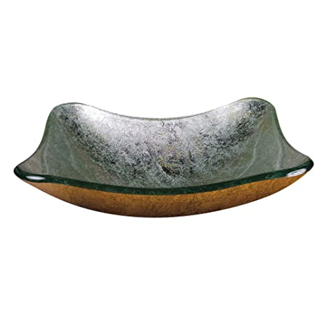 Yosemite Home Decor RACHEL-T Fused Topmount Square Glass Basin, Teal