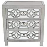 River of Goods  Drawer Chest: Glam Slam 3-Drawer Mirrored Wood Cabinet Furniture - Pewter (Color: Silver, Tamaño: 28-Inch)