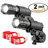Bright Eyes Aircraft Aluminium Waterproof 300 Lumen LED Bike Light Set (Headlight, TailLight), 2 Pack (Color: Black)