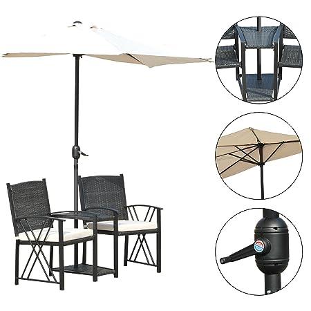 Outsunny® Gartenset Sitzgruppe Garnitur Gartenmöbel 2 x Gartenstuhl mit Sonnenschirm, Polyrattan+Metall