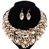 African Beads Jewelry Sets Women Bridal Crystal Statement Necklace Earring Jewelry Sets (Champagne) (Color: Champagne)