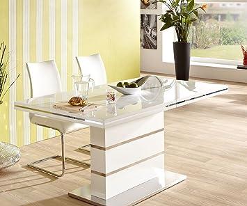 ausziehtisch zenobio hochglanz wei edelstahl 160 220x90 esstisch ausziehbar dc625. Black Bedroom Furniture Sets. Home Design Ideas