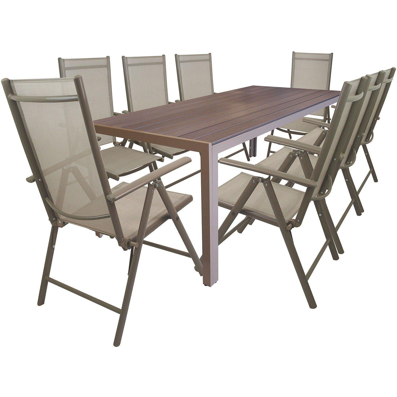 9tlg. Gartengarnitur Alu Gartentisch mit Non Wood / Polywood - Tischplatte 205x90cm + klappbare Hochlehner Positionsstuhl mit Textilenbespannung Lehne in 7 Positionen verstellbar Sitzgruppe Sitzgarnitur Gartenmöbel - Champagner