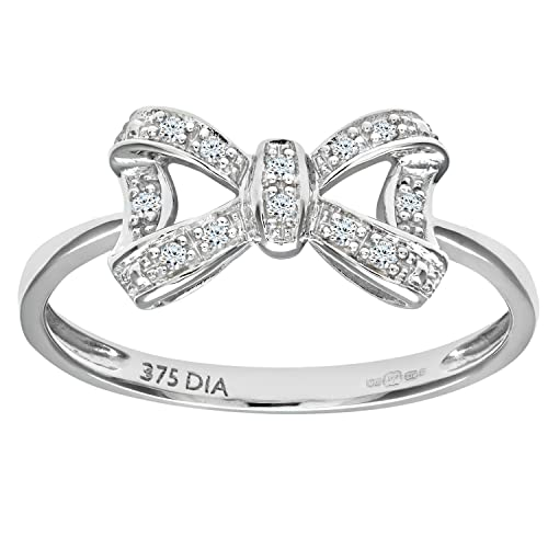 Naava 9ct White Gold Diamond Bow Ring