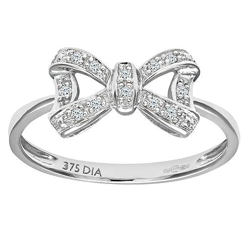 Naava 9ct White Gold Diamond Bow Ring