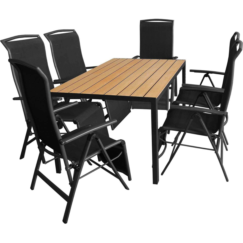 7tlg. Gartengarnitur Aluminium Gartentisch 150x90cm mit Polywood Tischplatte Golden Teak Klappsessel mit 2x1 Textilenbespannung Rücken- und Fußteil um 5 Positionen verstellbar