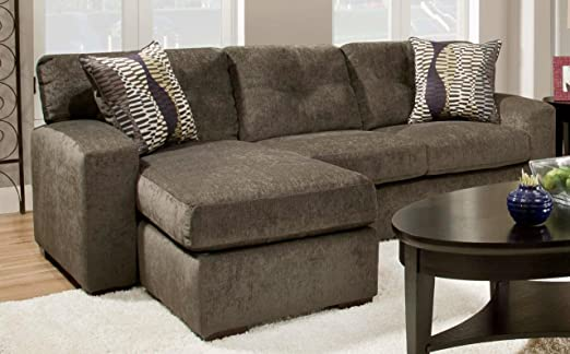 Chelsea Home Furniture Rockland Sofa Chaise, Hematite Gray/Zipper Opal Pillows (2)