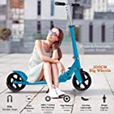 OppsDecor Adult Scooter with 3 Seconds Easy-Folding System 200mm Big Wheels Teens Commuter Scooter, 220lbs Adjustable City Scooter Age 8 Up (Blue) (Color: Blue)