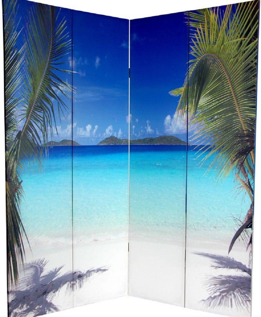 Beach-themed 4 Panel Folding Double Sided Room Divider Rendered on Canvas with Spruce Frames (Blue Color Tones) rick stein s seafood lovers guide