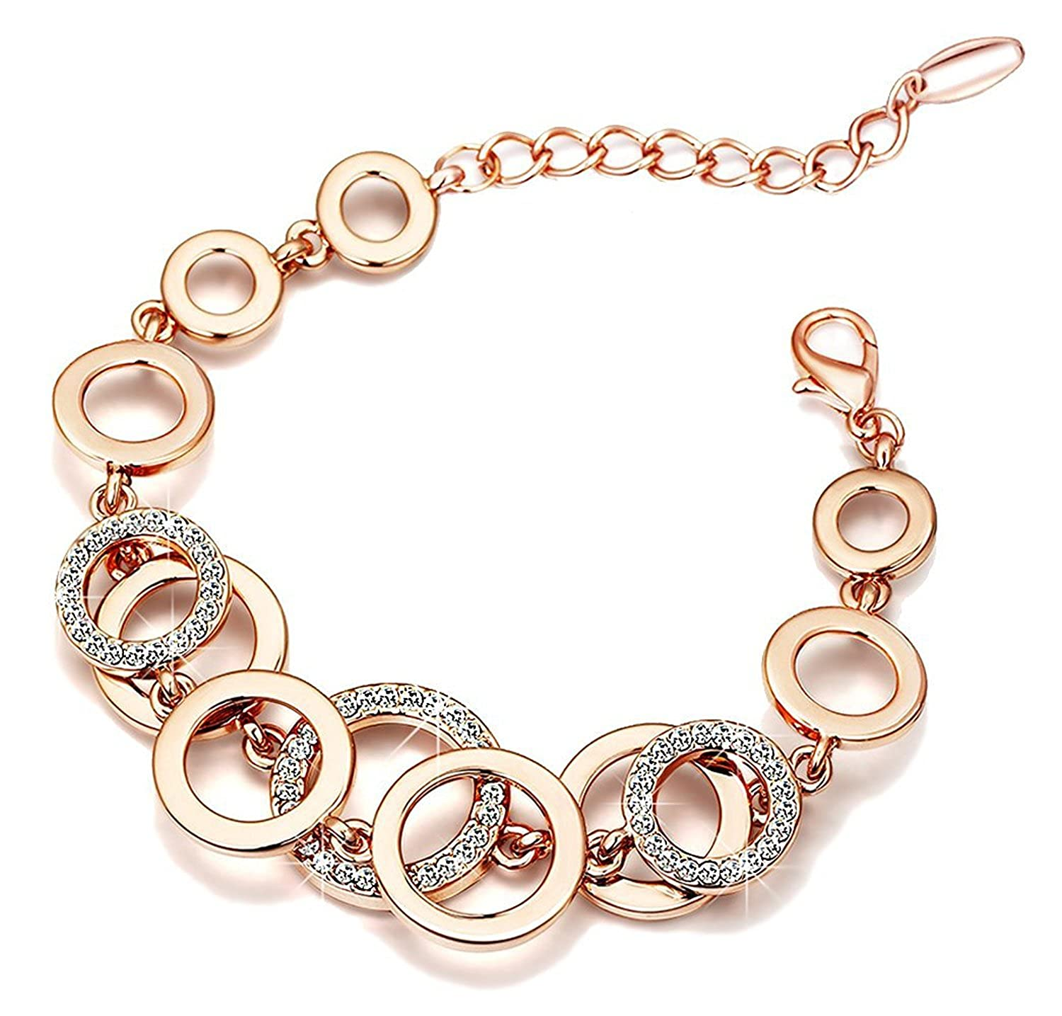 DEALS ON Yutii Rakhi Gift for Sister Circle Links Rose Gold Crystals Bracelet For Girls and Women