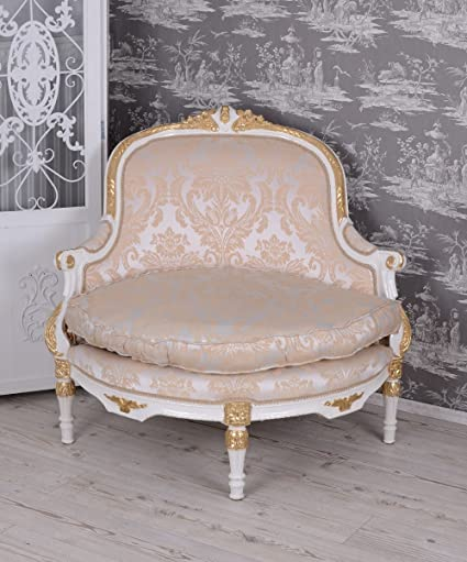 Baroque Style Armchair White Vintage Sofa Antique Chair Palazzo Exclusive