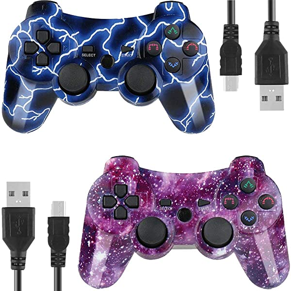 Wireless Controllers for PS3 Playstation 3 Dual Shock, Bluetooth Remote Joystick Gamepad for Six-axis with Charging Cable,Pack of 2 (BlueFlash and StarrySky) (Color: BlueFlash and StarrySky)