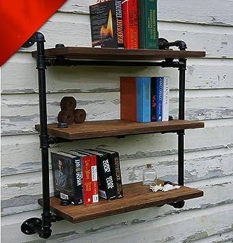 AJZGF Scaffali Scaffali industriali retrò Scaffale libreria multi-scaffale in legno massello Ripiani ( dimensioni : 60*20*100cm )