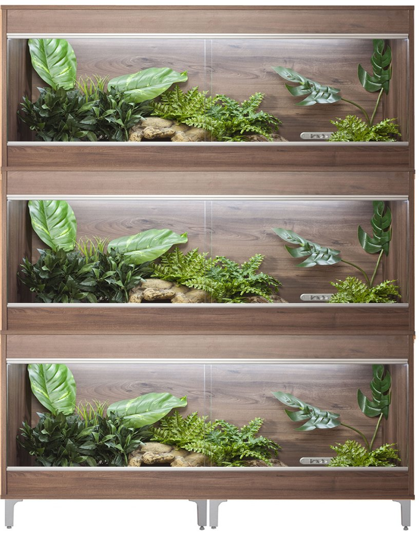 Vivexotic Repti-Home 3-Stack Vivariums - Maxi Extra Large Walnut with Feet 137.5cm