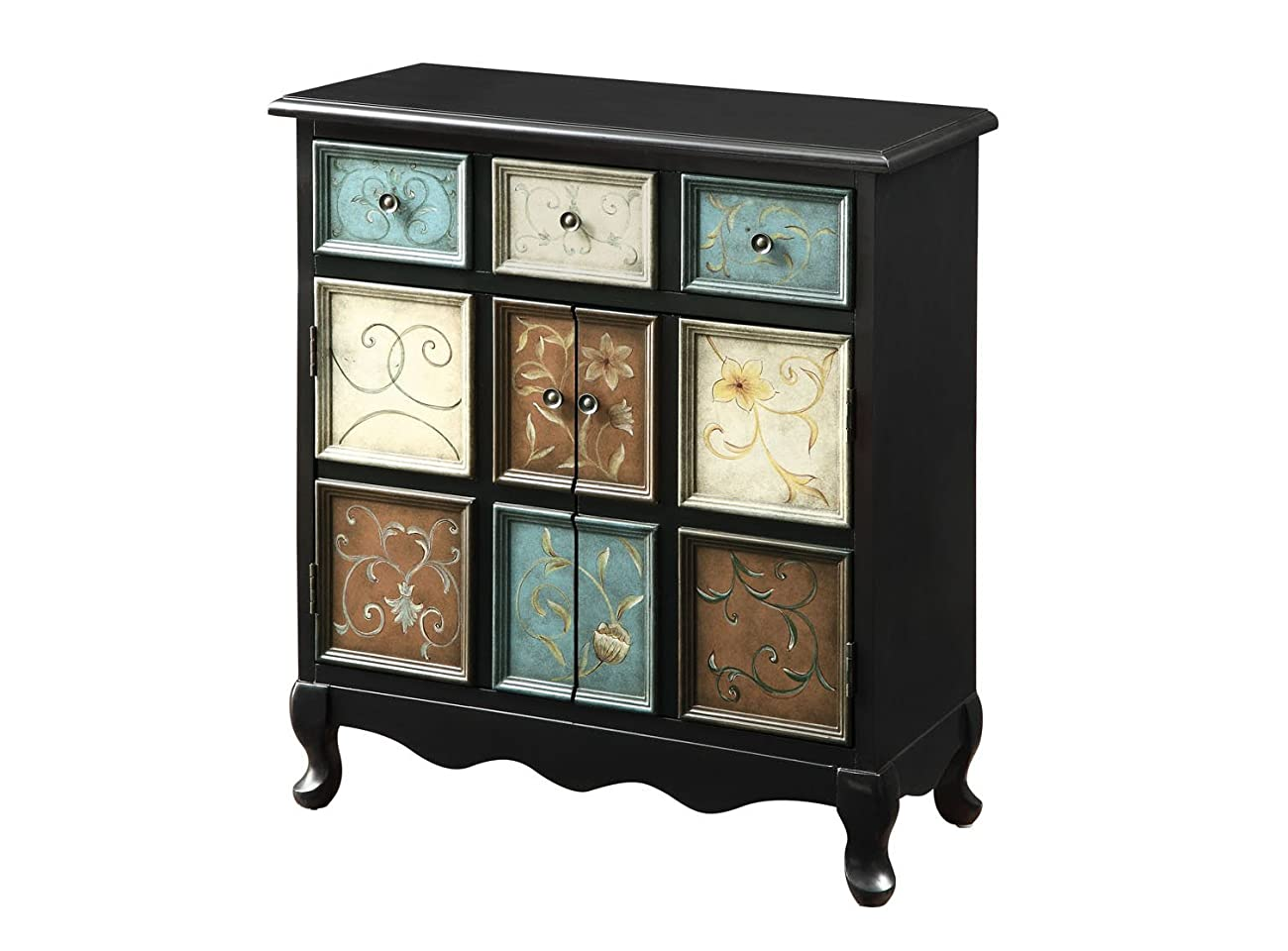 Monarch Apothecary Bombay Chest, Distressed Black/Multi-Color 1