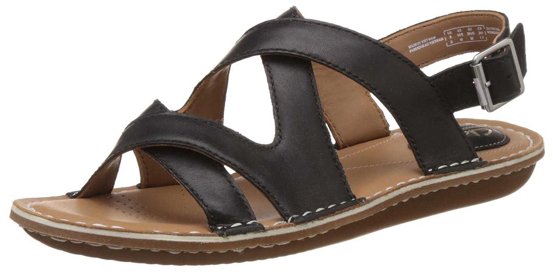 Clarks Women's Black Leather Fashion Sandals - 6 UK/India (39.5 EU)