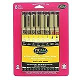 Juego de 8 piezas Sakura 30067 Pigma Brush Pen, Color Negro