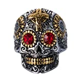 INRENG Men's Stainless Steel Silver Gold Gothic Cross Skull Ring Vintage Flower Carved Halloween Red Eye Size 10