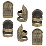 Yolyoo 6pcs Copper Finger Protector Adjustable Fingertip Thimble Sewing for Sewing Embroidery Needlework, Medium