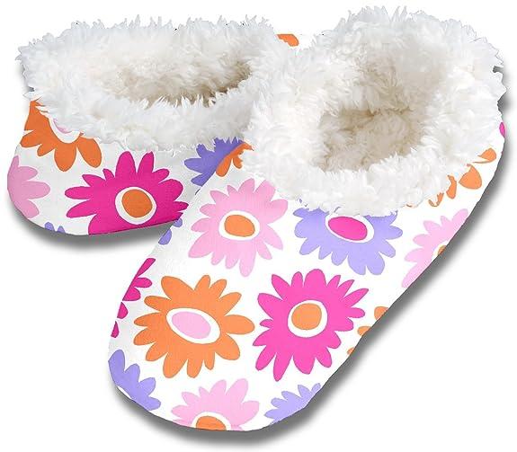Snoozies Womens Fleece Lined Footies, Pink Wild Dahlia